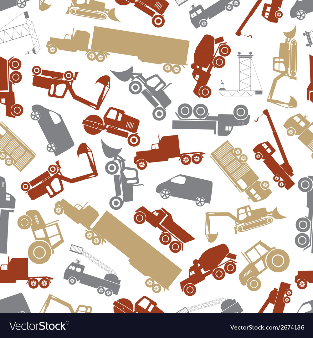 Heavy machinery color seamless pattern eps10 vector | Price: 1 Credit (USD $1)