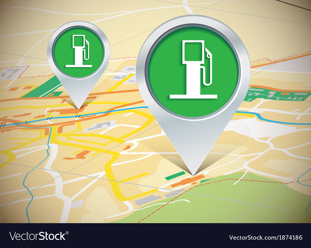 Map with pins vector | Price: 1 Credit (USD $1)