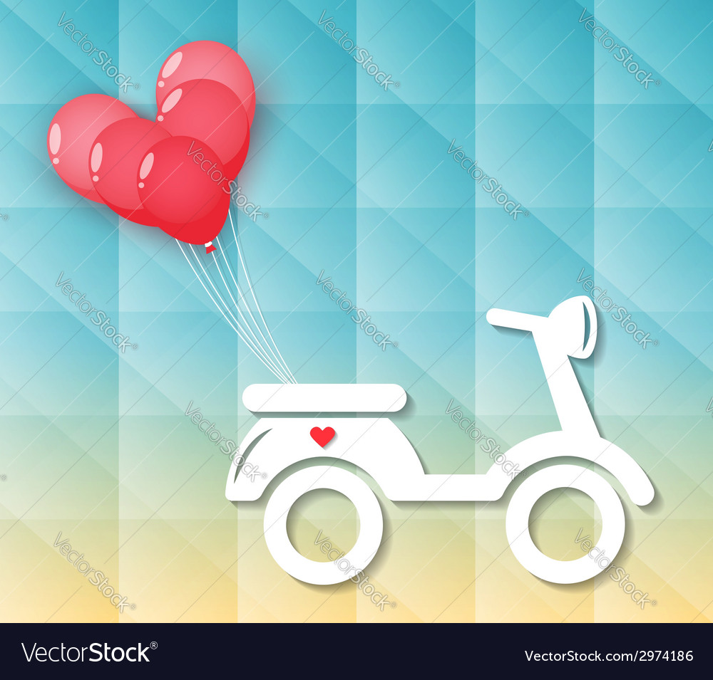 Motorcycle with red heart balloons vector | Price: 1 Credit (USD $1)