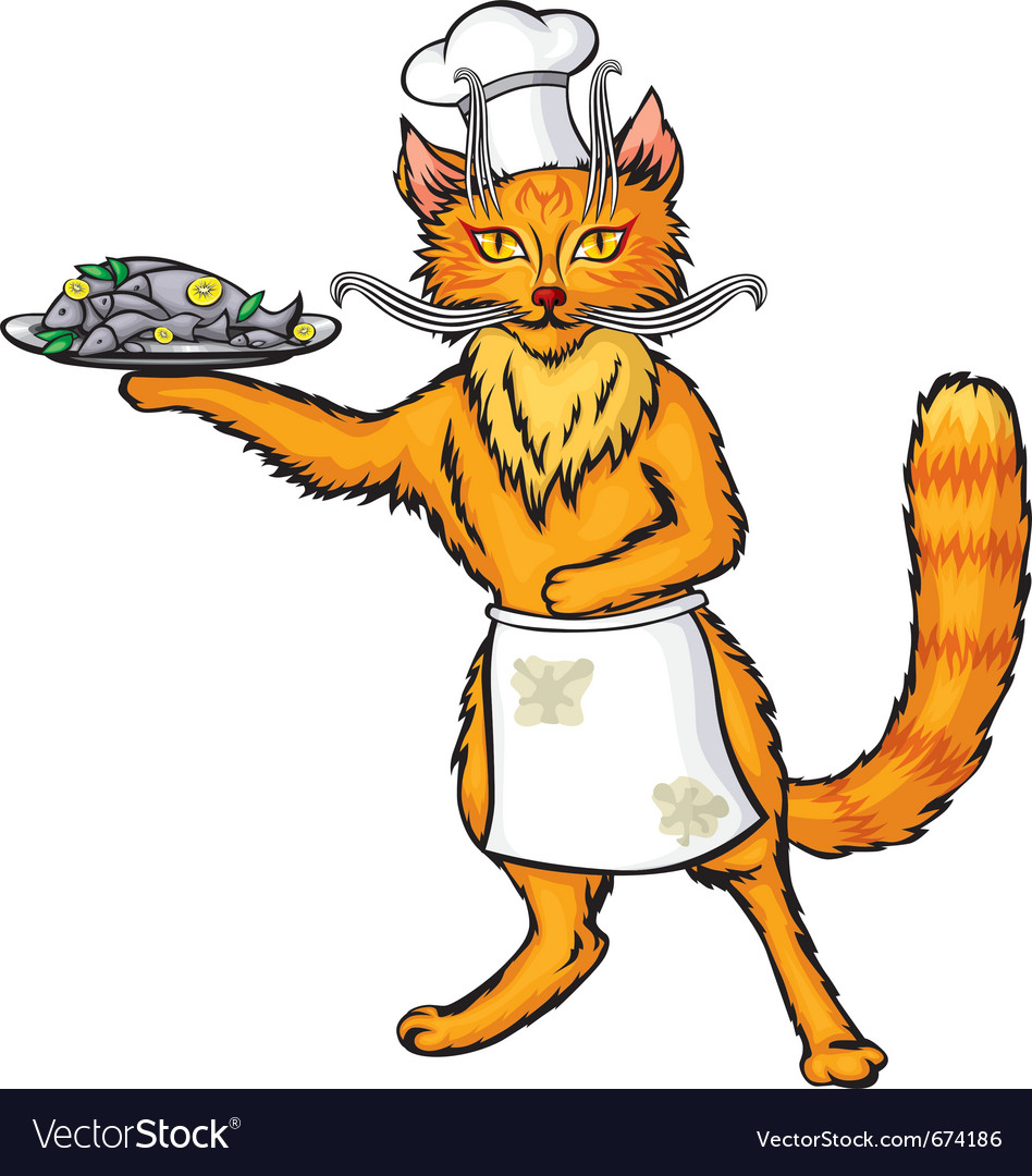 Red cat chef the fish dish vector | Price: 3 Credit (USD $3)