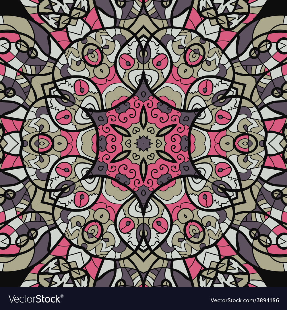 Seamless pink and brown mandala ornament template vector | Price: 1 Credit (USD $1)