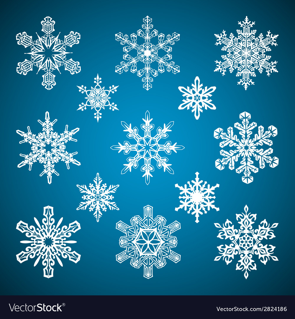 Snowflakes set vector | Price: 1 Credit (USD $1)