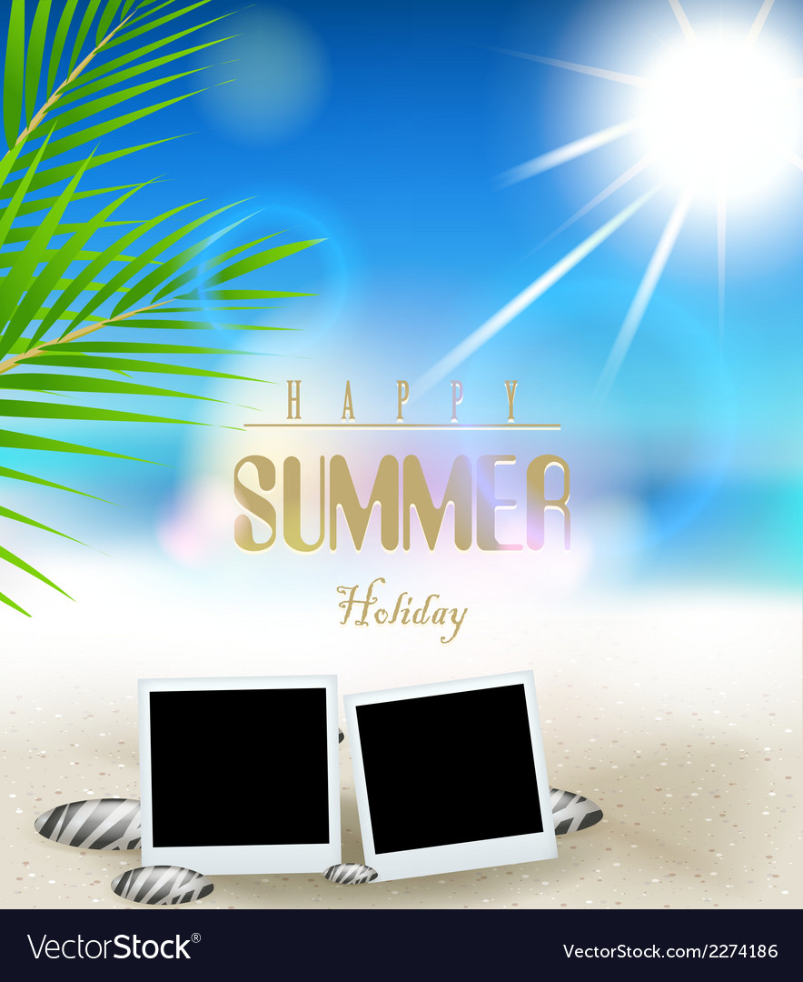 Summer holidays background with film frame vector | Price: 1 Credit (USD $1)