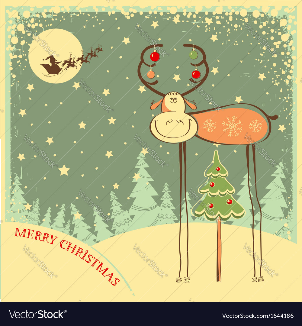Vintage christmas card with funny bull in holiday vector   Price: 1 Credit (USD $1)
