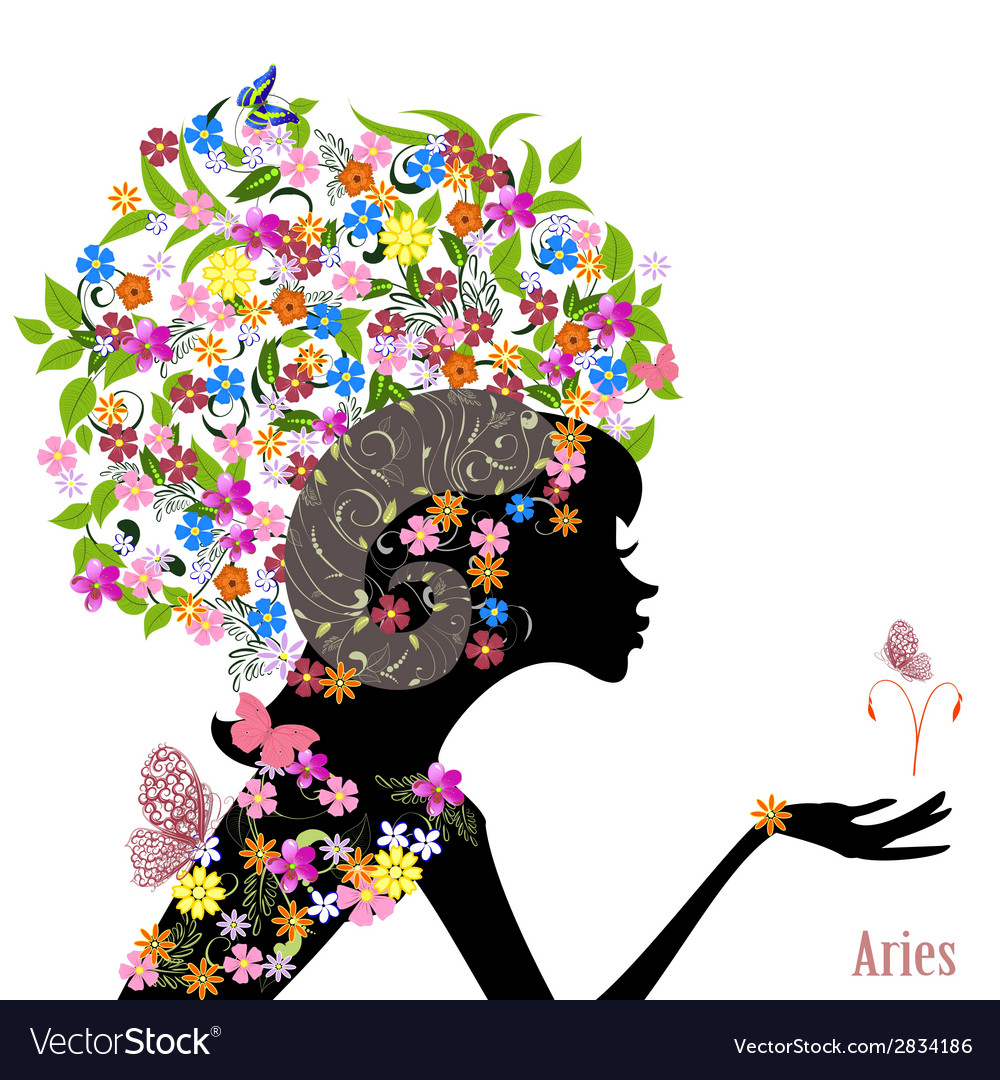 Zodiac sign aries fashion girl vector | Price: 1 Credit (USD $1)