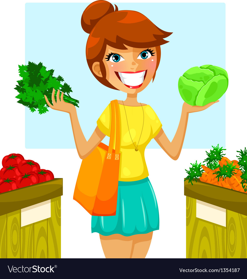 Buying vegetables vector | Price: 3 Credit (USD $3)