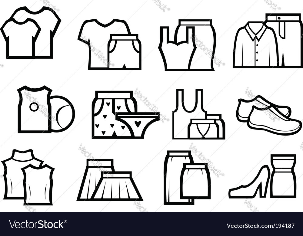 Clothing icons vector | Price: 1 Credit (USD $1)