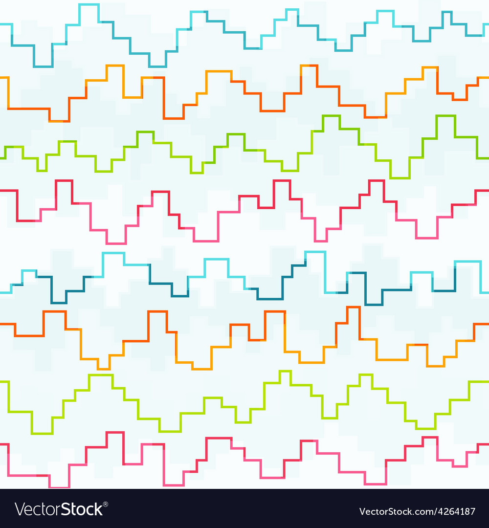 Colored pixel zigzag seamless pattern vector | Price: 1 Credit (USD $1)