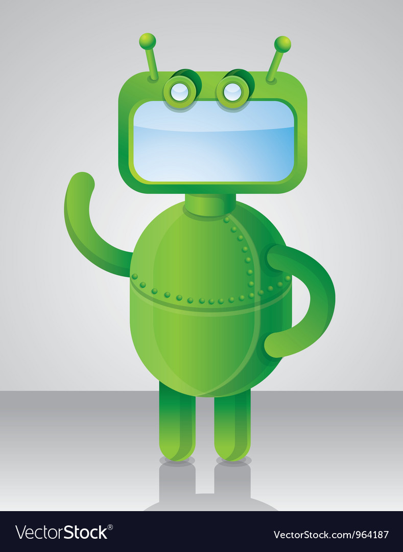 Crazy funny green robot vector | Price: 1 Credit (USD $1)