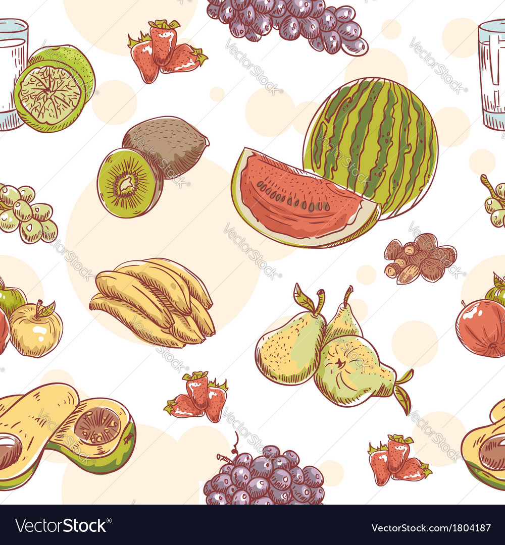 Fresh fruit hand drawn seamless pattern vector | Price: 1 Credit (USD $1)