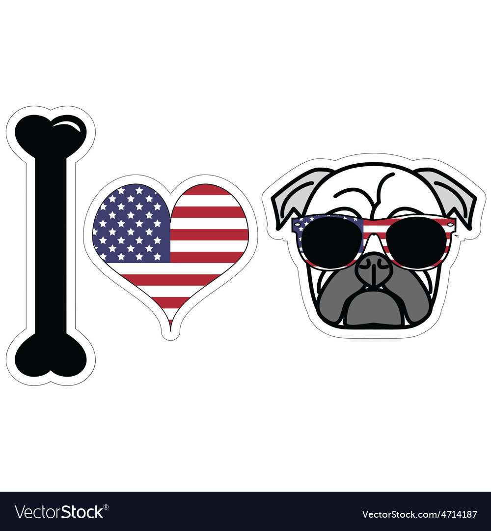 I love pugs with american symbols vector | Price: 1 Credit (USD $1)