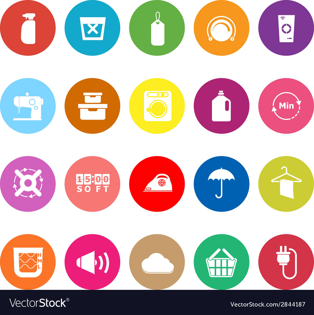 Laundry flat icons on white background vector | Price: 1 Credit (USD $1)