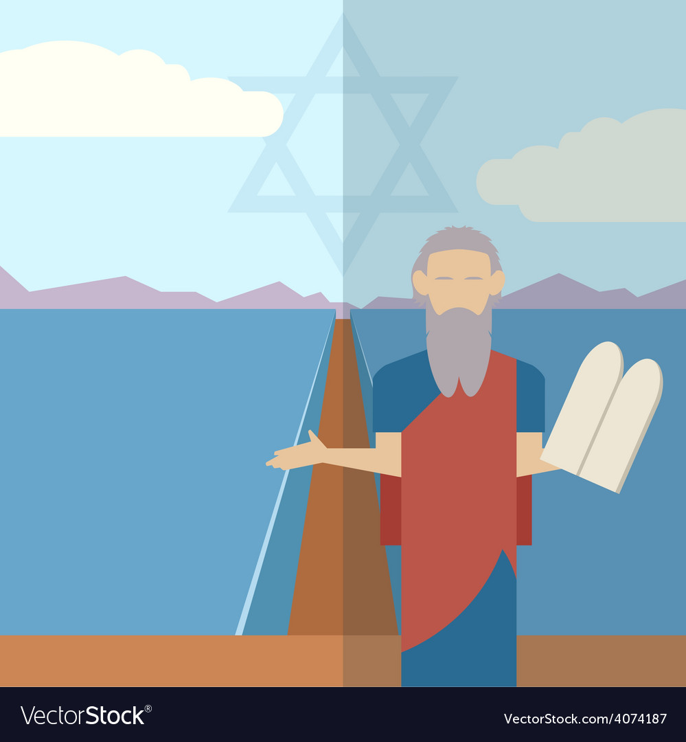 Moses and sea icon 1 vector | Price: 1 Credit (USD $1)