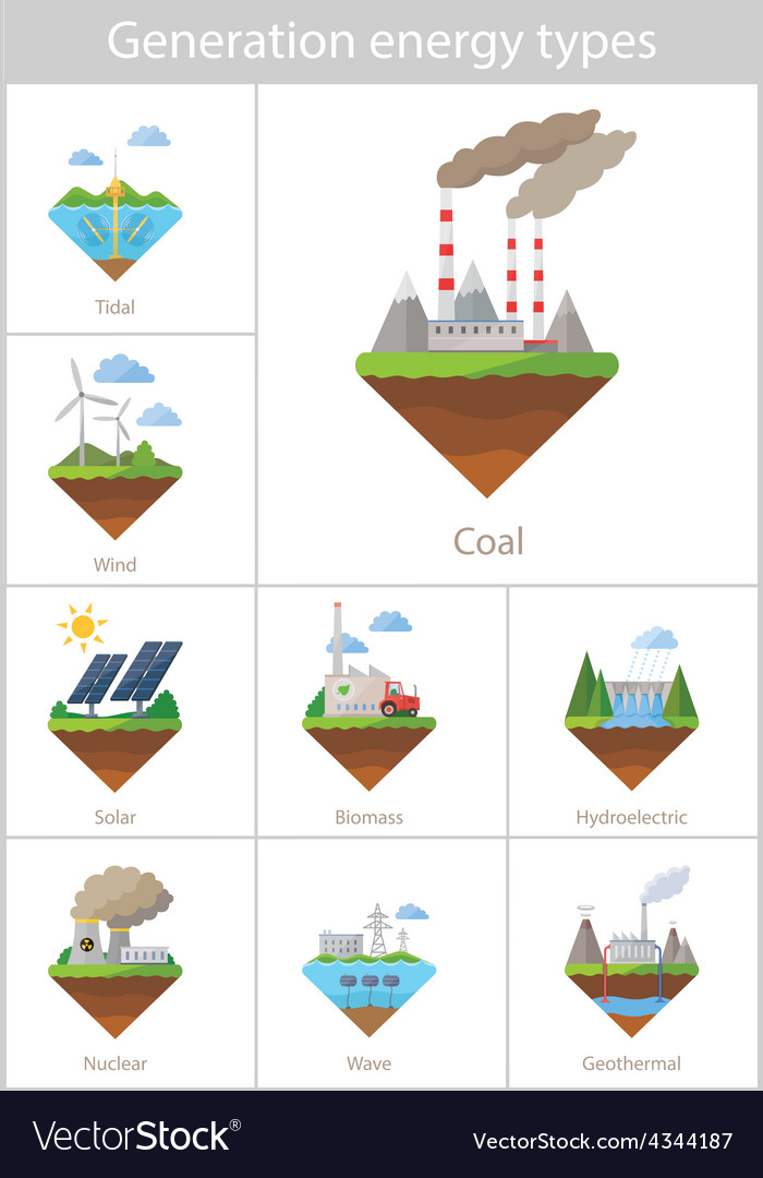 Power plant icon set vector | Price: 1 Credit (USD $1)