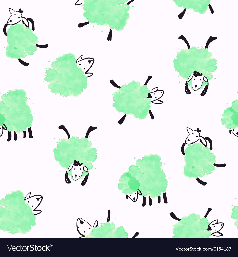 Seamless pattern with green sheep vector | Price: 1 Credit (USD $1)