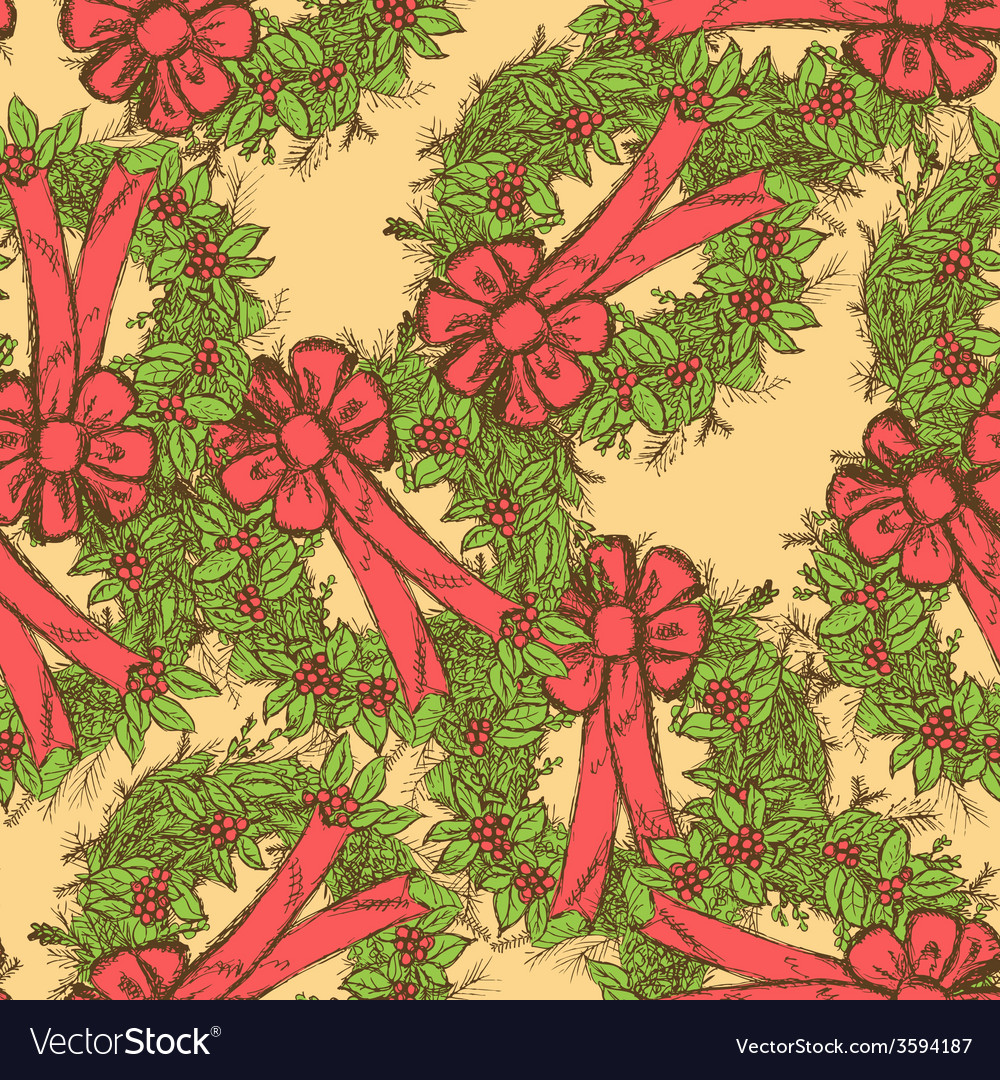 Sketch christmas seamless pattern in vintage style vector | Price: 1 Credit (USD $1)