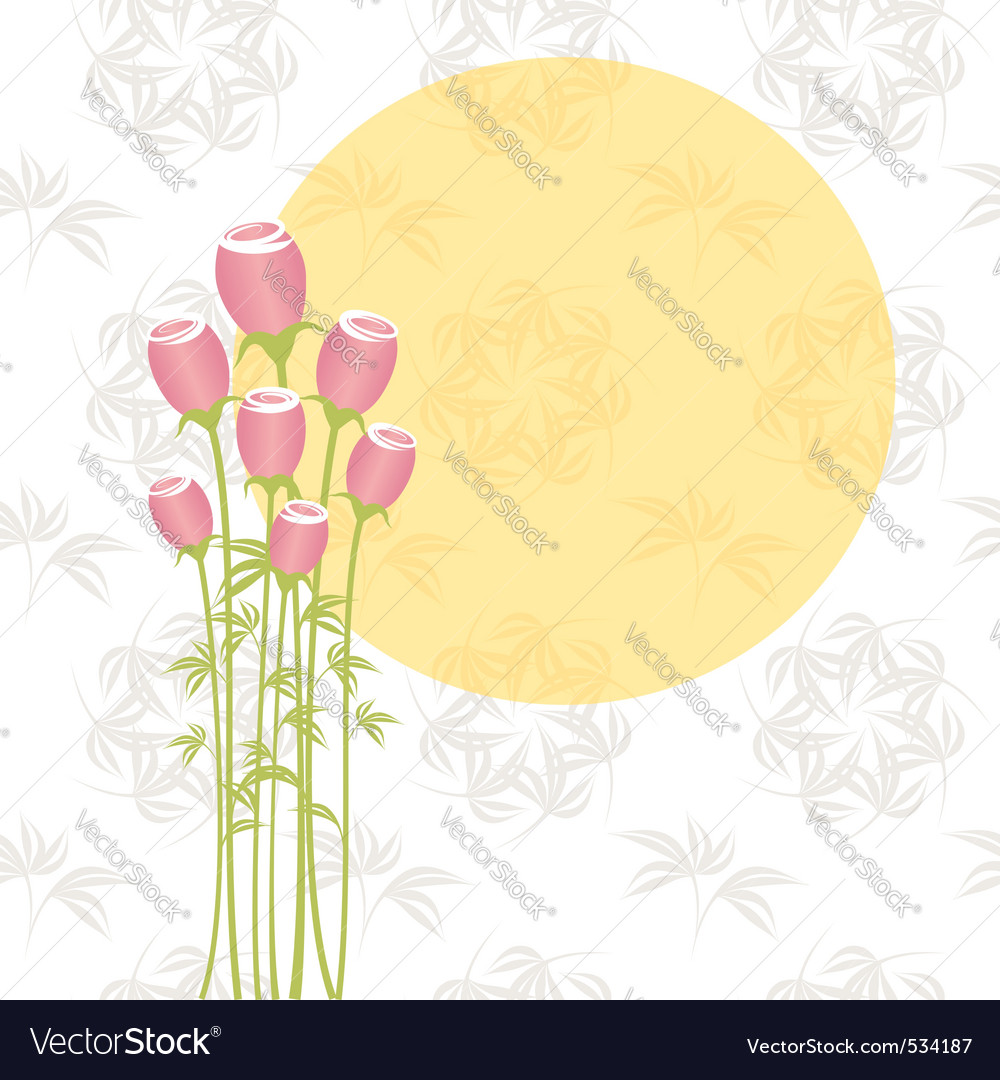 Springtime pink rose flowers on seamless pattern b vector | Price: 1 Credit (USD $1)