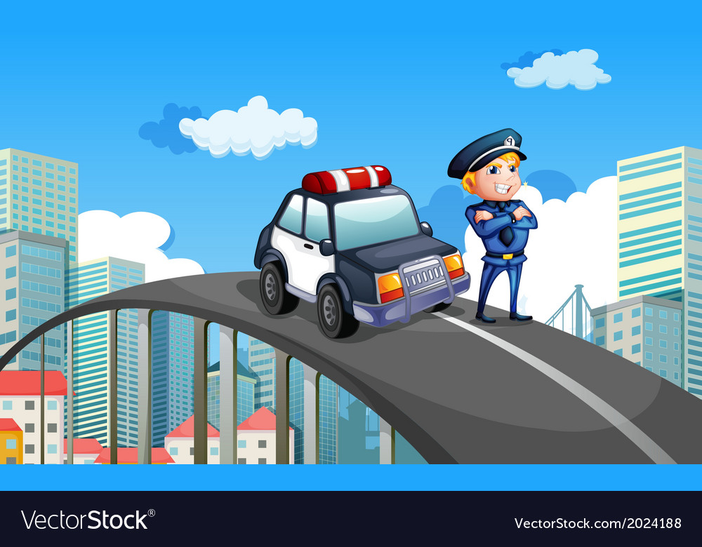 A patrol car and a policeman in the middle of the vector | Price: 3 Credit (USD $3)