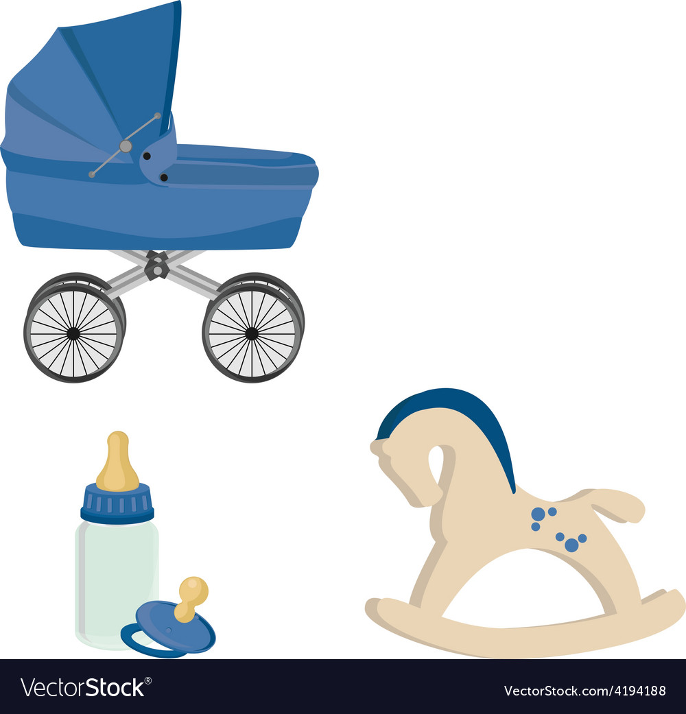Baby perambulator bottle nipple and rocking horse vector | Price: 1 Credit (USD $1)