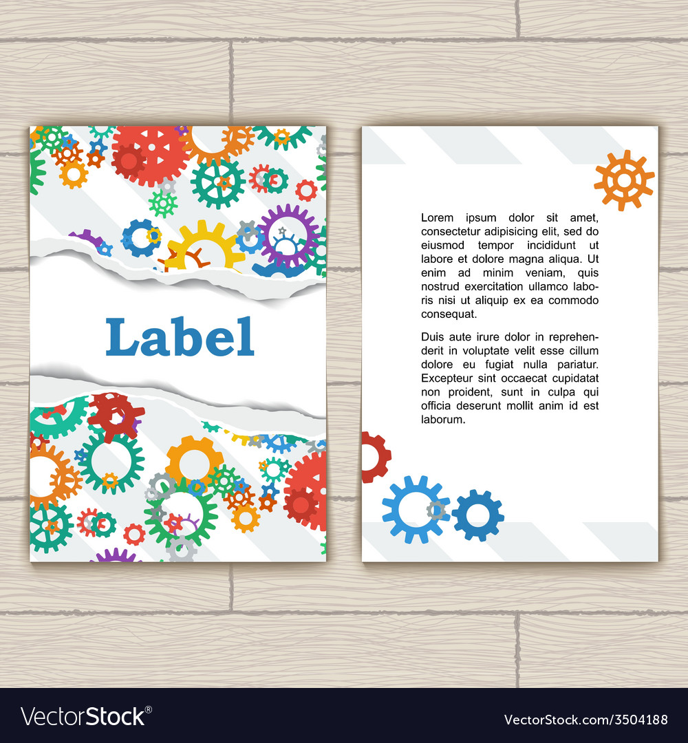 Card with gears and torn paper vector | Price: 1 Credit (USD $1)