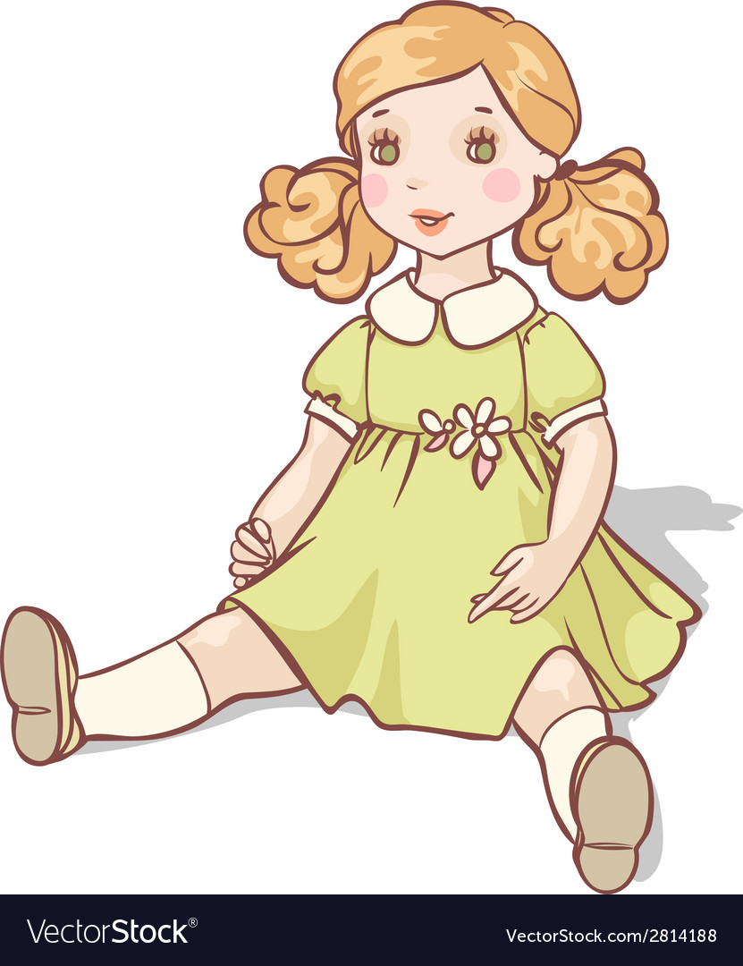 Cartoon doll sits in a green dress vector | Price: 1 Credit (USD $1)
