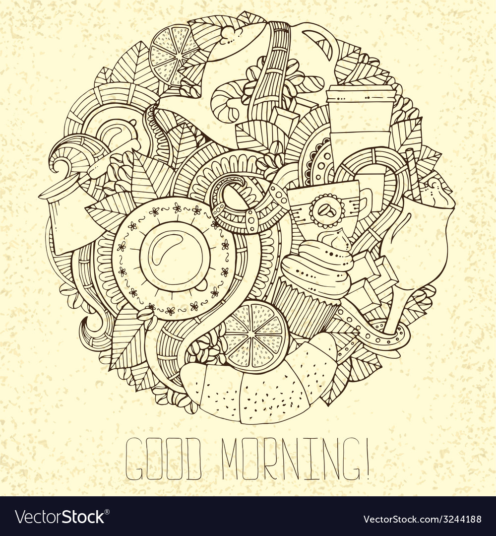Coffee doodles hand-drawn vector | Price: 1 Credit (USD $1)