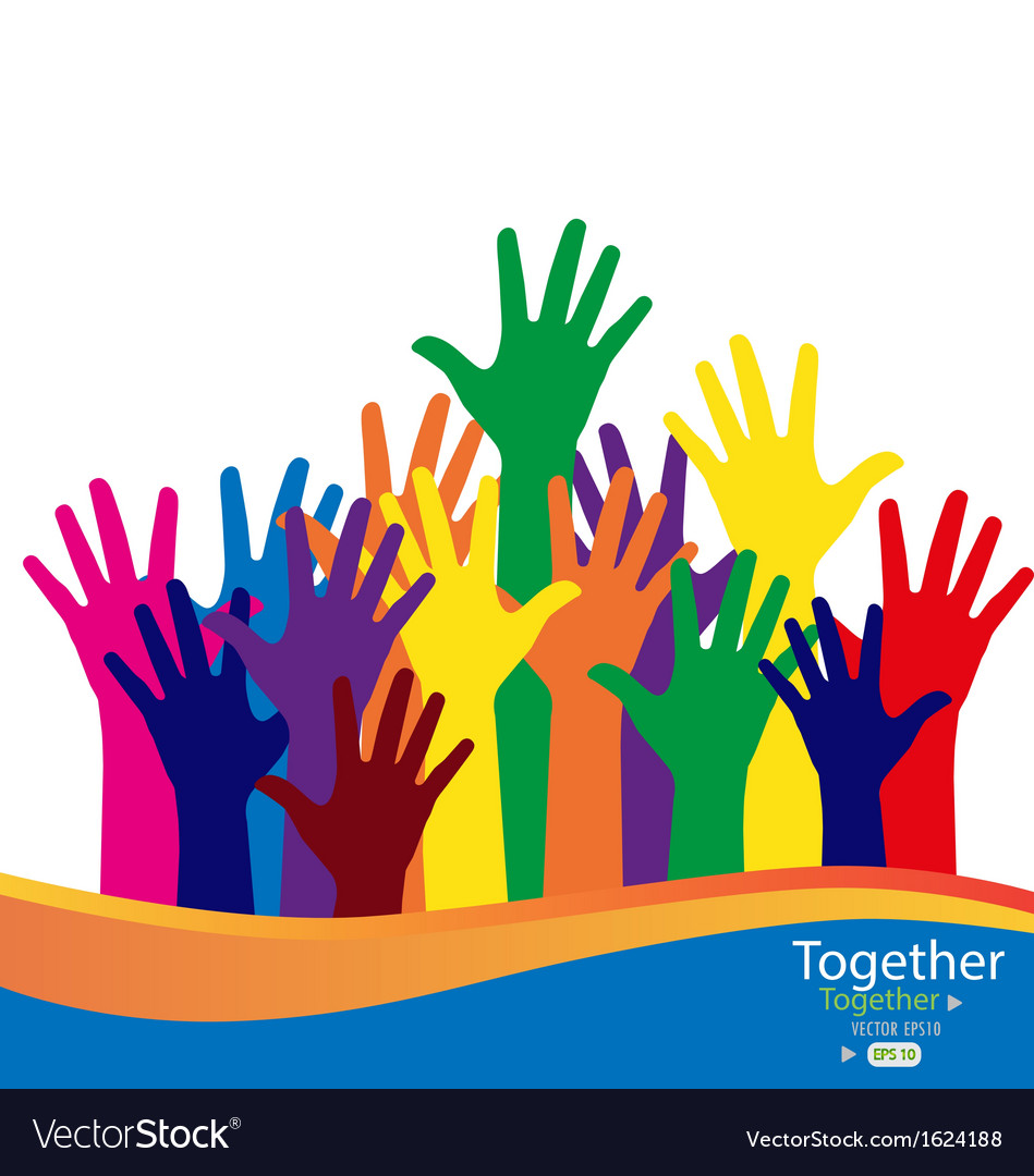 Colorful raised hands vector | Price: 1 Credit (USD $1)