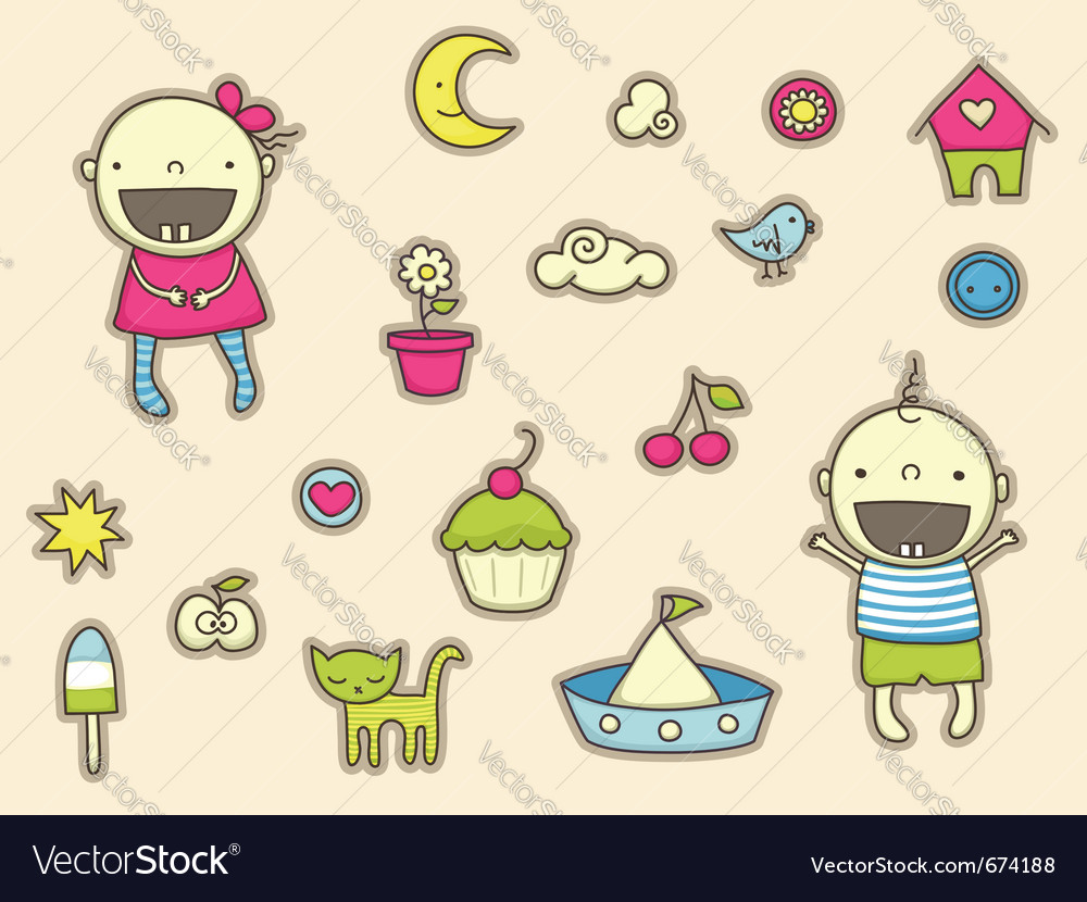 Cute stickers for children vector | Price: 1 Credit (USD $1)
