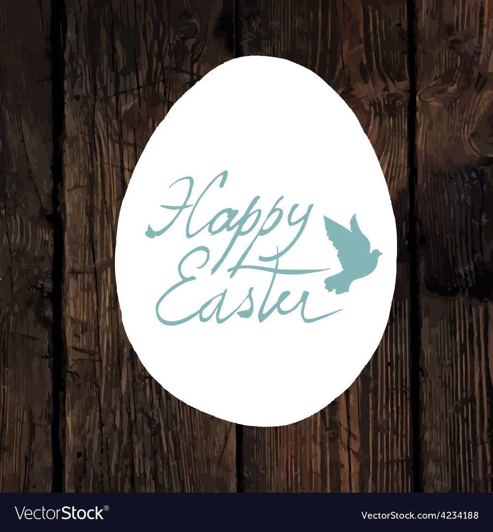 Easter greeting calligraphy wooden vector | Price: 1 Credit (USD $1)