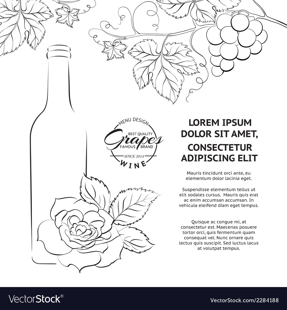 Hand drawn wine label vector | Price: 1 Credit (USD $1)