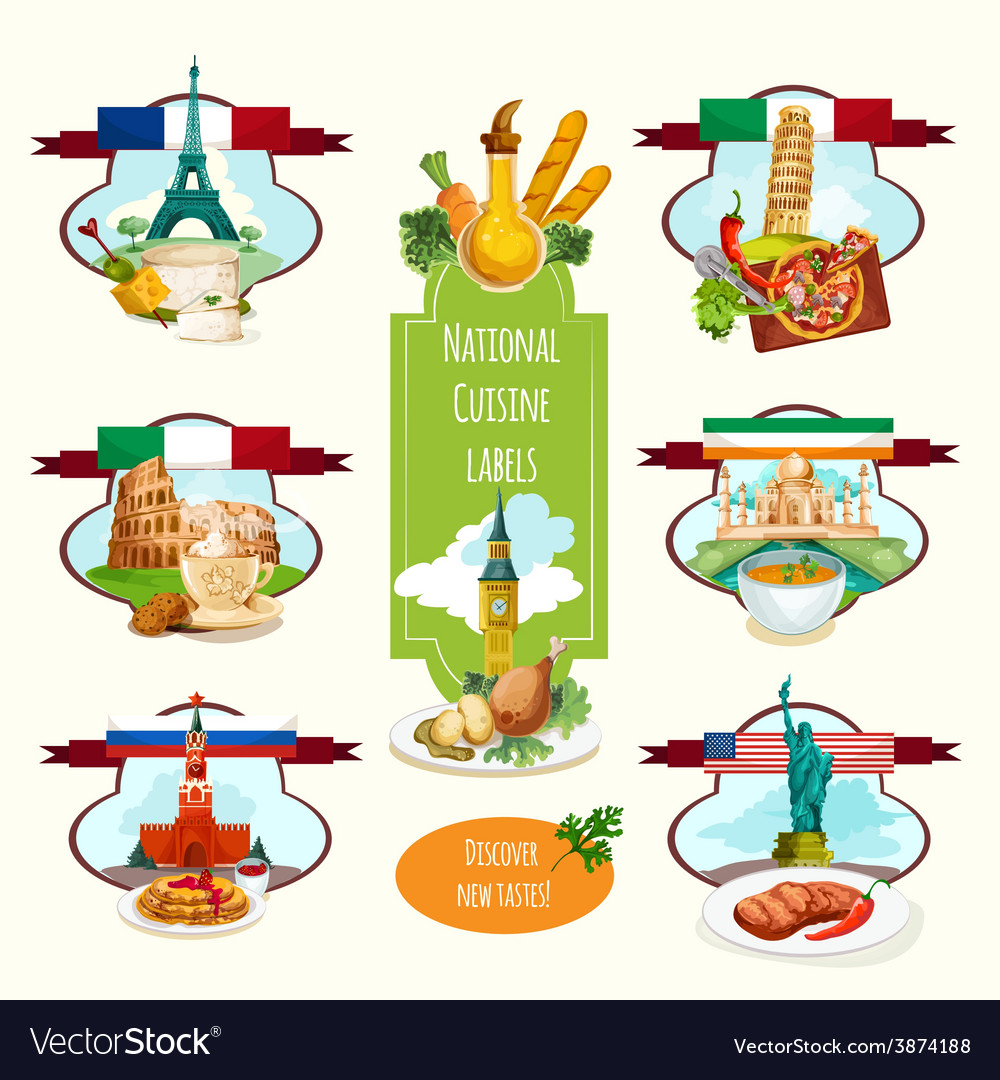 National cuisine labels vector | Price: 1 Credit (USD $1)
