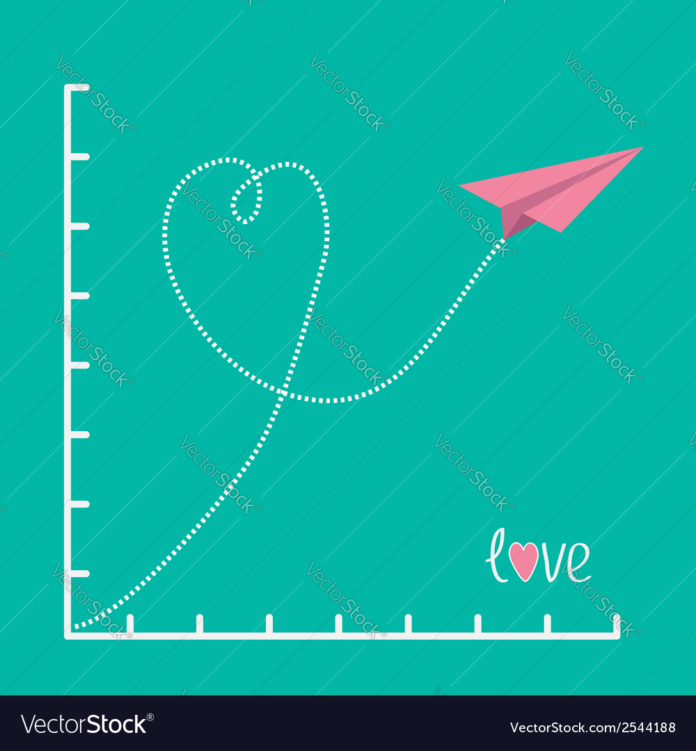 Origami pink paper plane and scale love card flat vector | Price: 1 Credit (USD $1)