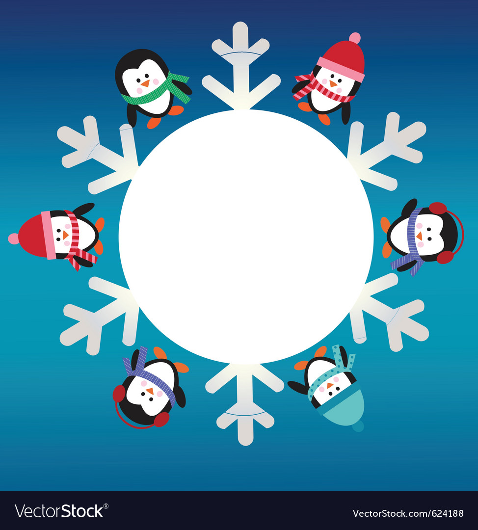 Six penguins with snowflake vector | Price: 1 Credit (USD $1)