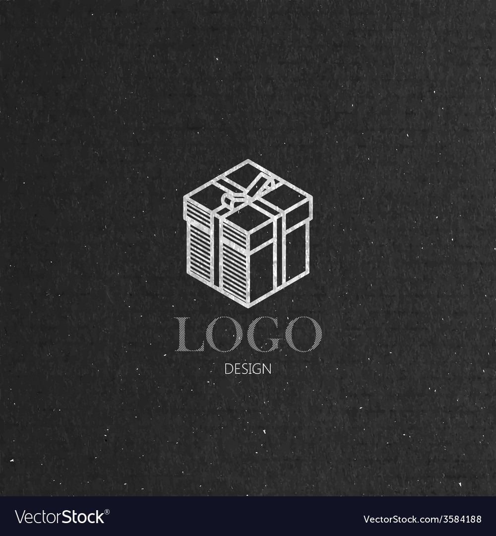 With isometric gift box on cardboard texture logo vector | Price: 1 Credit (USD $1)