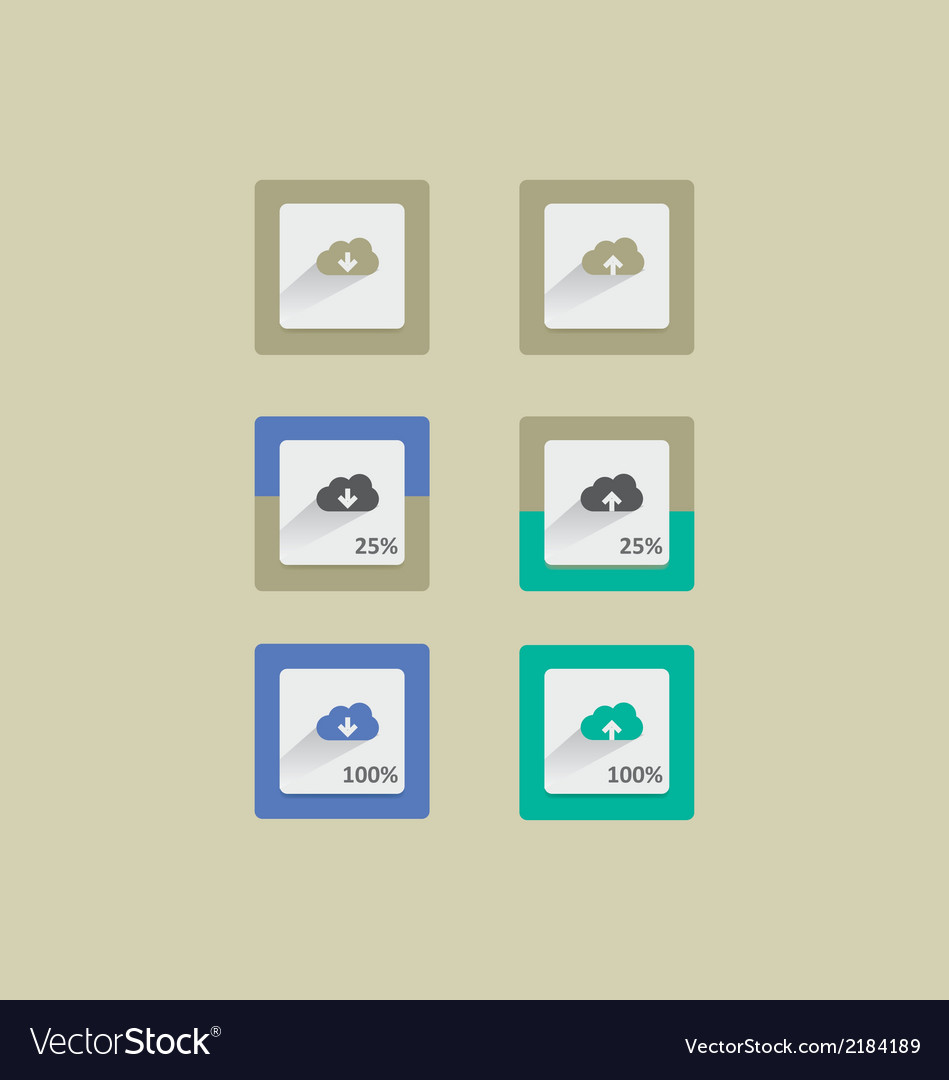Cloud upload and download progress long shadow vector | Price: 1 Credit (USD $1)