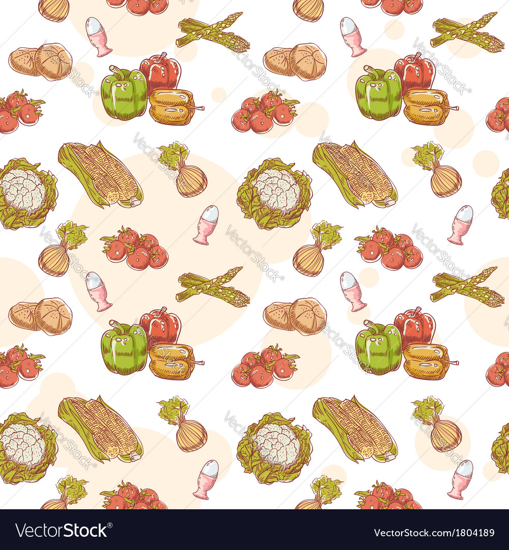 Fresh vegetables hand drawn seamless pattern vector   Price: 1 Credit (USD $1)