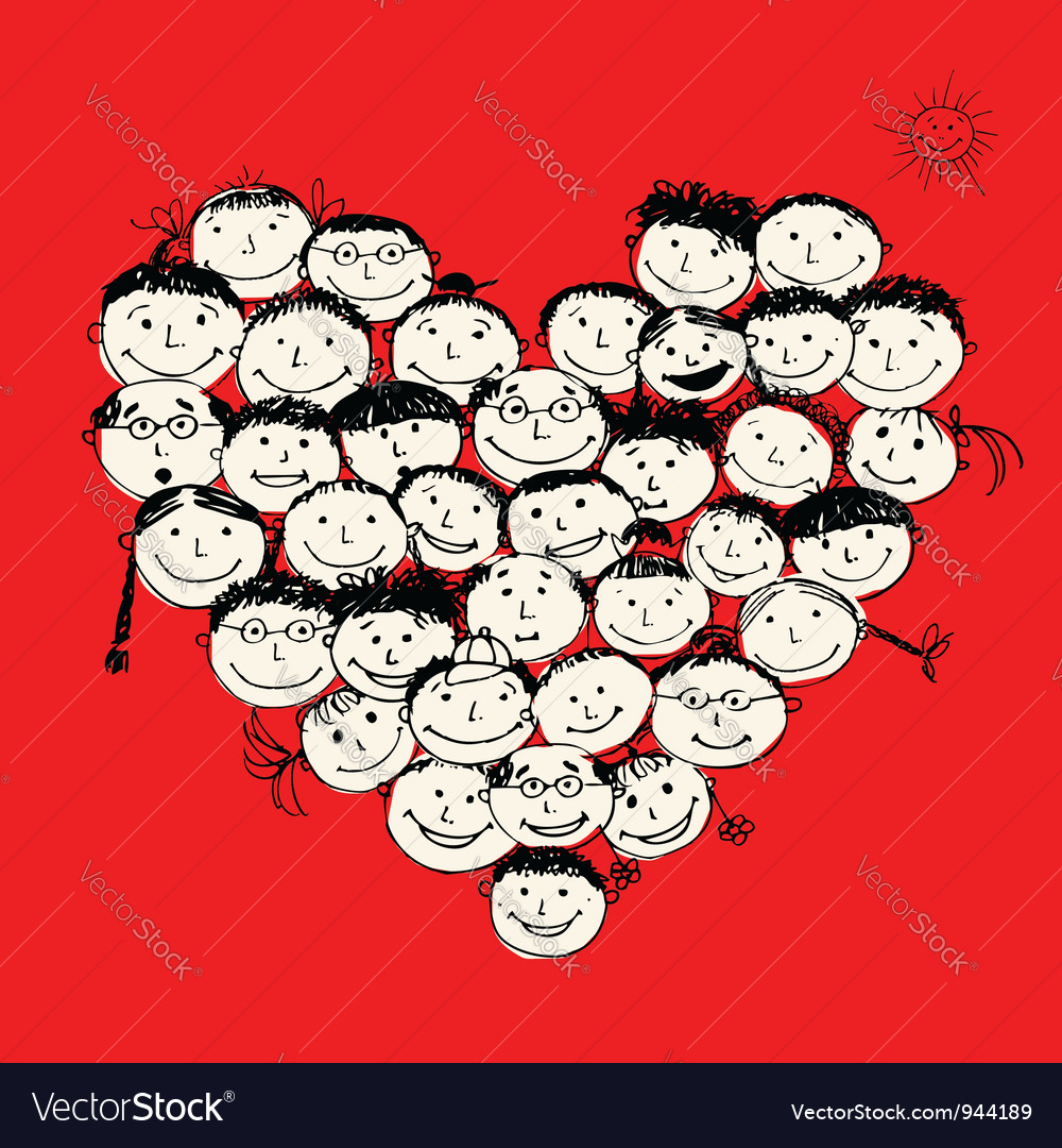 Happy peoples heart shape for your design vector | Price: 1 Credit (USD $1)