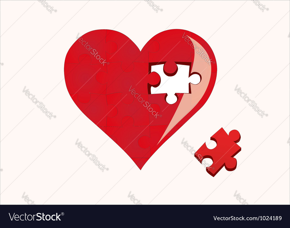 Heart and a missing piece vector | Price: 1 Credit (USD $1)