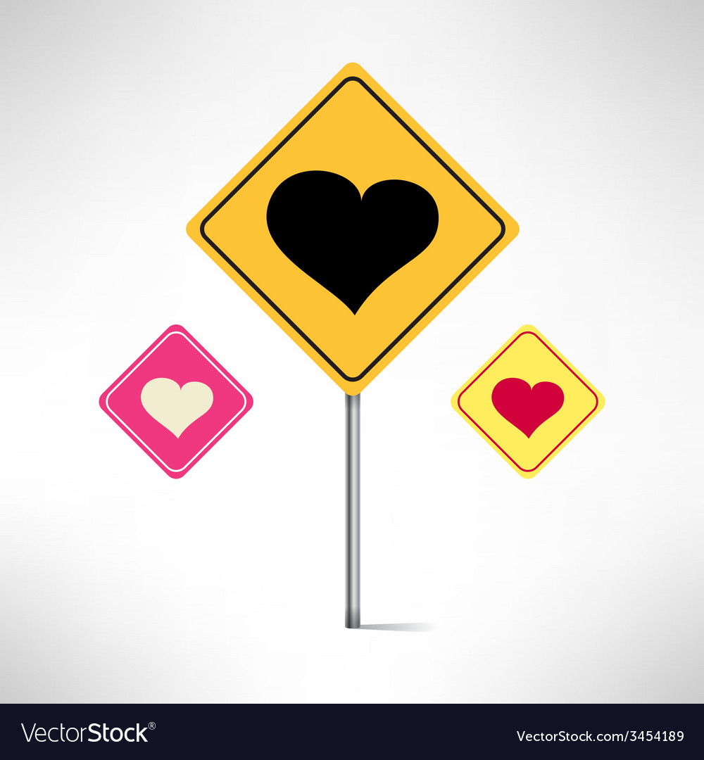 Heart road signs set love warning vector | Price: 1 Credit (USD $1)