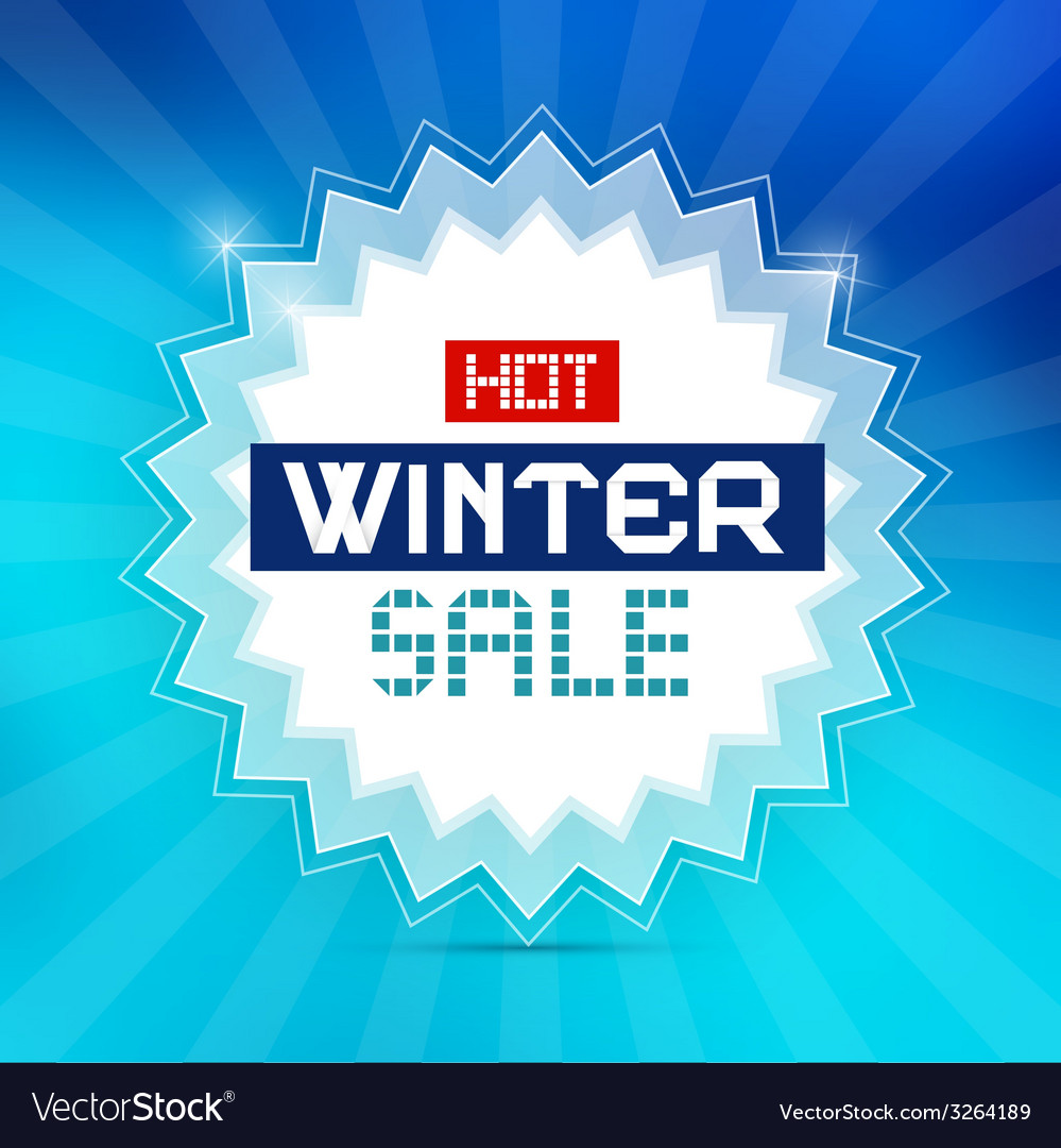 Hot winter sale retro blue background vector | Price: 1 Credit (USD $1)