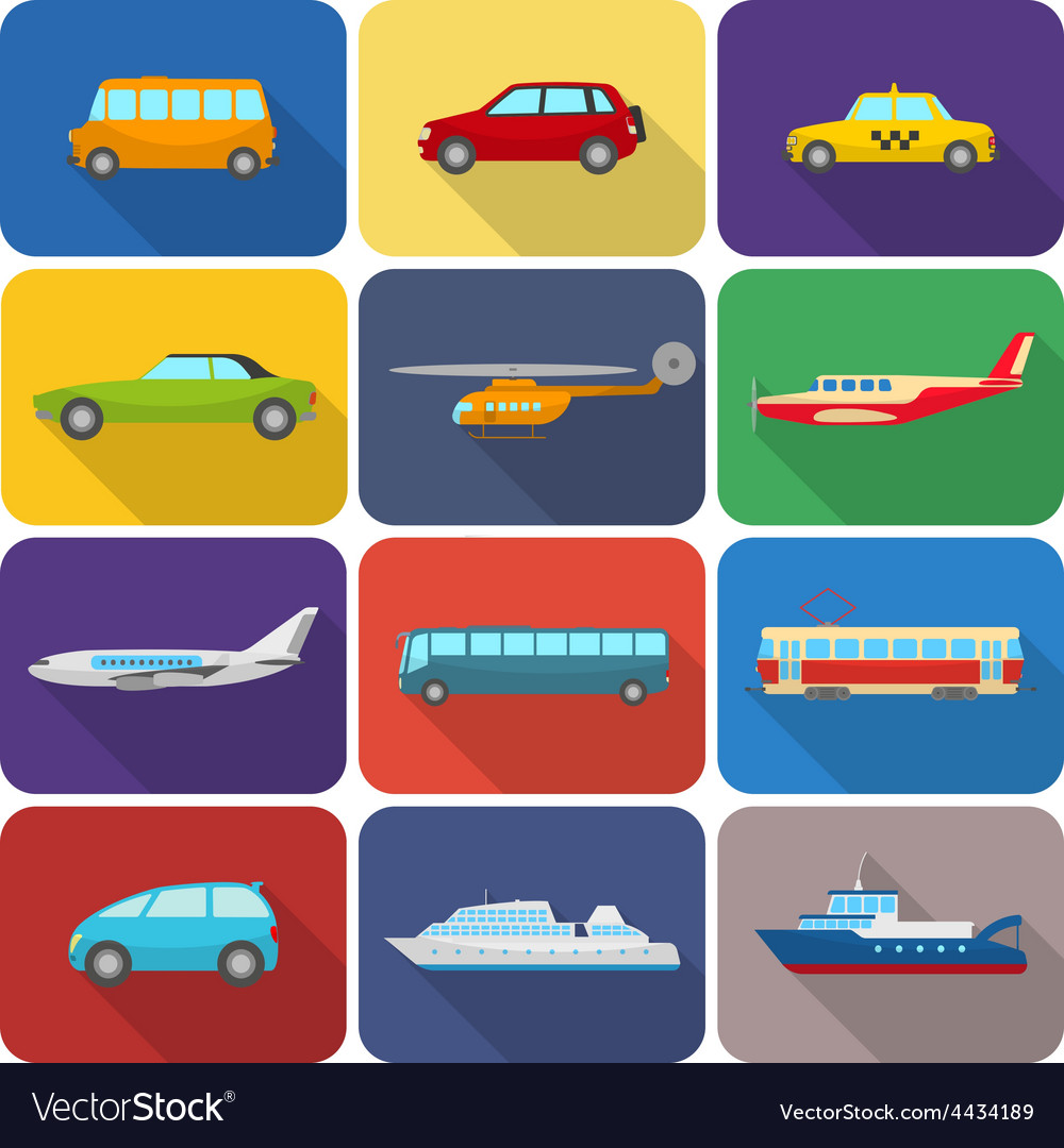 Multicolored transport icons flat vector | Price: 1 Credit (USD $1)