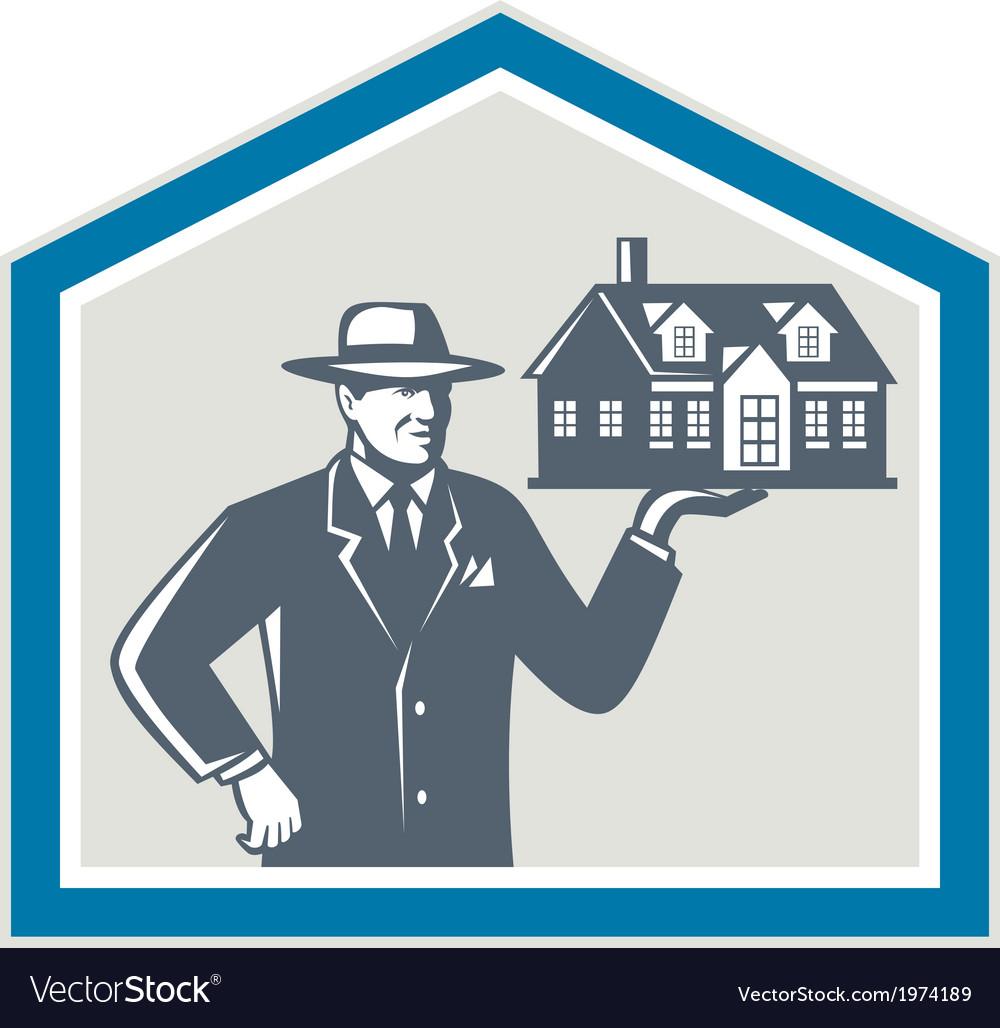 Real estate salesman sell house retro vector | Price: 1 Credit (USD $1)