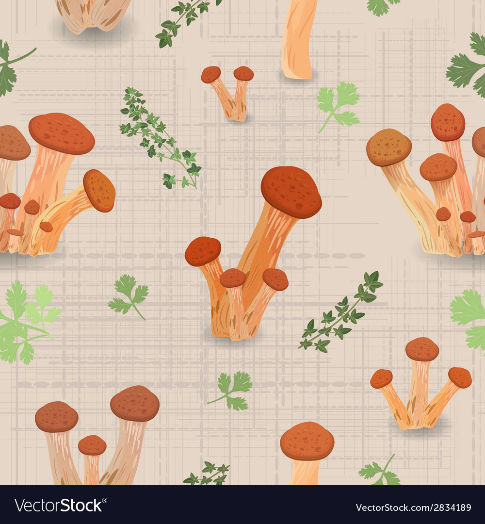 Seamless texture with edible mushroom armillaria vector | Price: 1 Credit (USD $1)