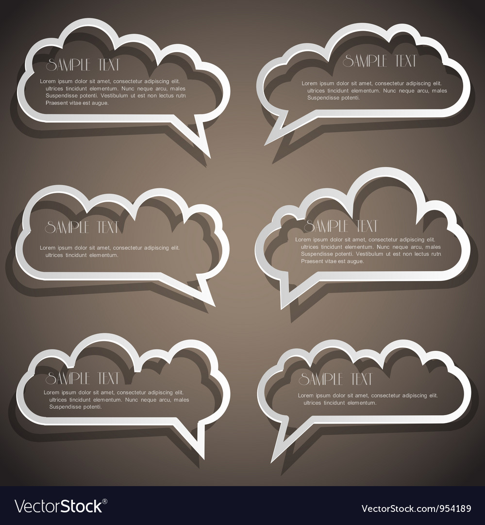 Set of speech bubbles from paper outline vector | Price: 1 Credit (USD $1)