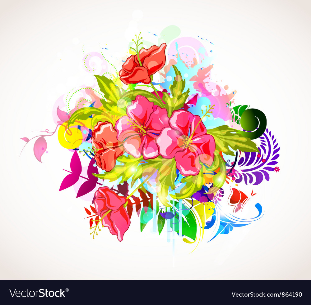 Abstract colorful floral background vector | Price: 1 Credit (USD $1)