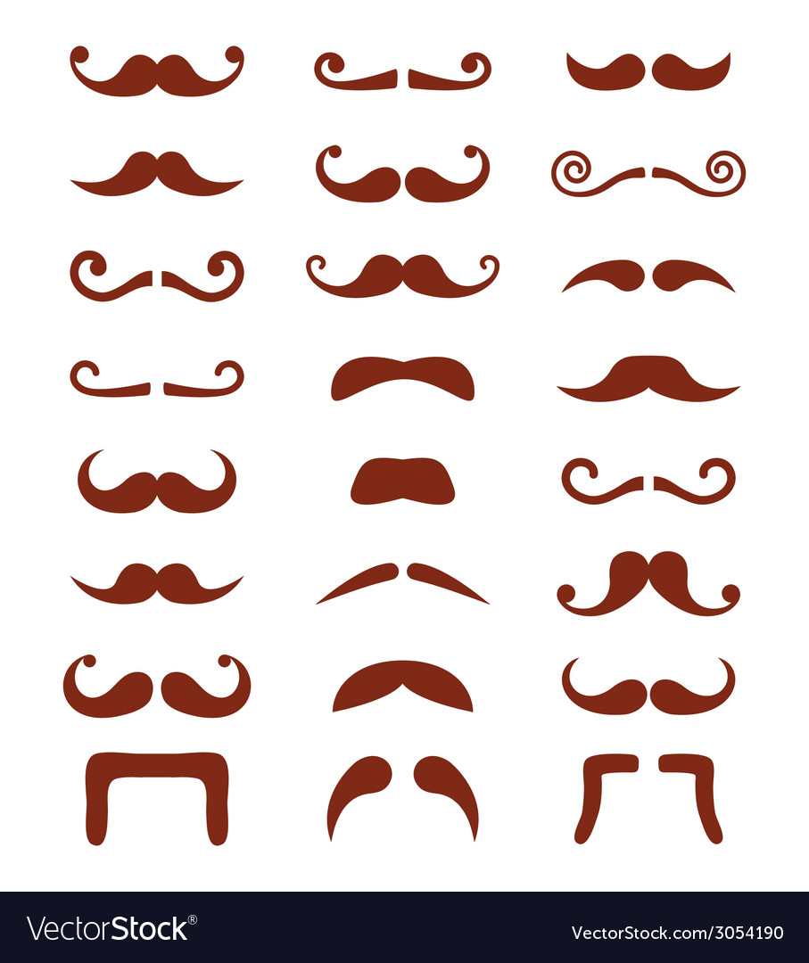 Brown moustache or mustache icons set vector | Price: 1 Credit (USD $1)