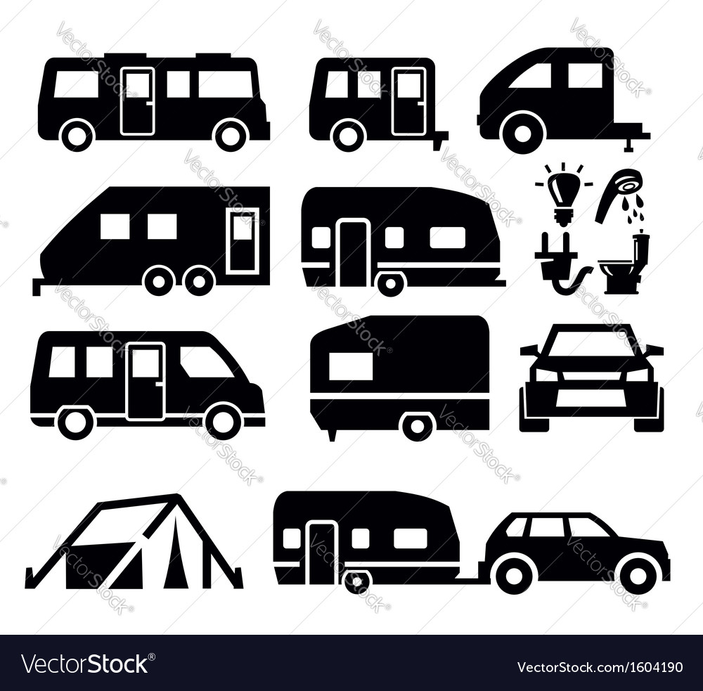 Camper van icons vector | Price: 1 Credit (USD $1)
