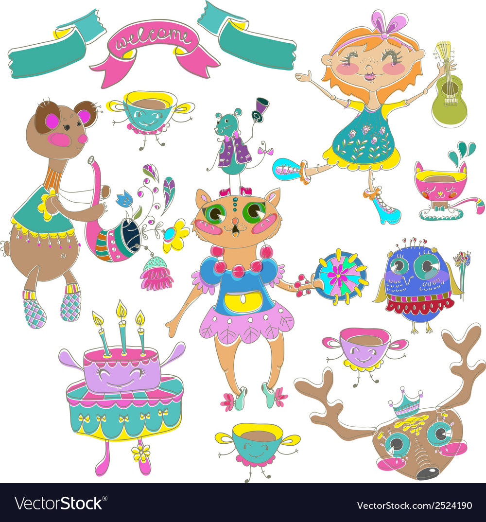 Cartoon color party with little girl and animals vector | Price: 1 Credit (USD $1)