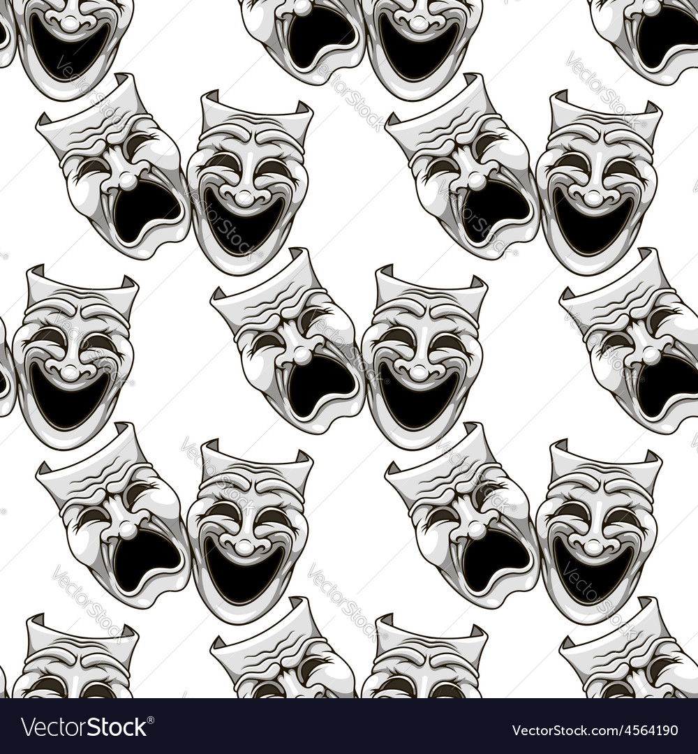 Cartoon theater masks seamless pattern vector | Price: 1 Credit (USD $1)
