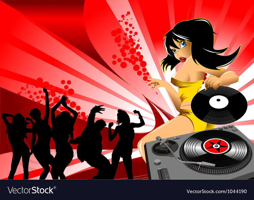 Dj party girl vector | Price: 1 Credit (USD $1)